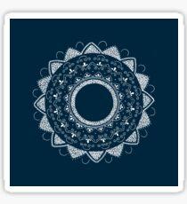 Healing my past blue and white hand drawn mandala Sticker