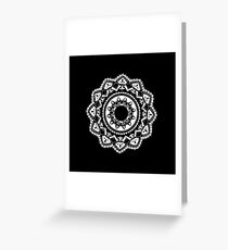 Cellular black and white mandala Greeting Card