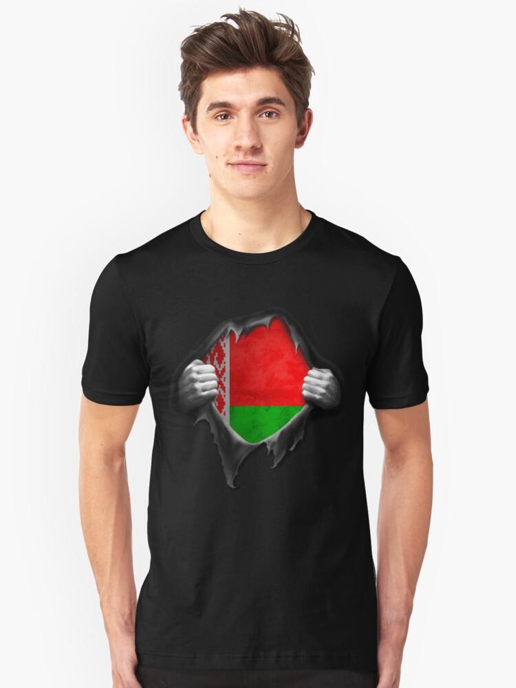 Belarus Flag. Proud Belarusian Unisex T-Shirt Front