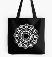 Cellular black and white mandala Tote Bag