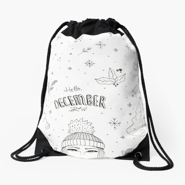 Hello December Drawstring Bag