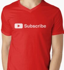 Youtuber Subscribe Play Button Vlogger Design Men's V-Neck T-Shirt