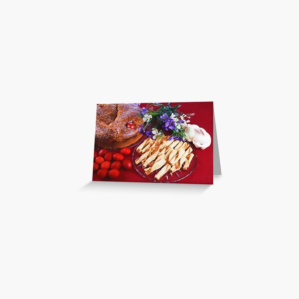 Greek Easter Celebration With Food Greeting Card