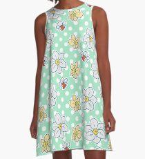 Polk-a-dot Daffodil Pattern A-Line Dress