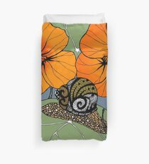 Snail with Nasturtiums Duvet Cover