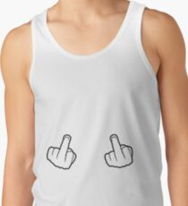 2 hands show gloves nimble finger middle finger symbol fuck you off logo design cool insult swear word fuck you nasty Tank Top