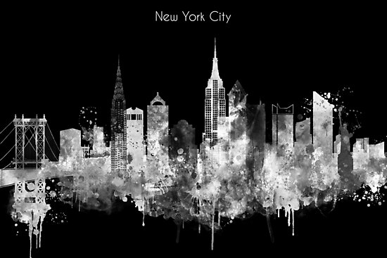 My artistic view of New York city. The design is a mixed technique of hand-painted watercolor and computer processing. by DimDom
