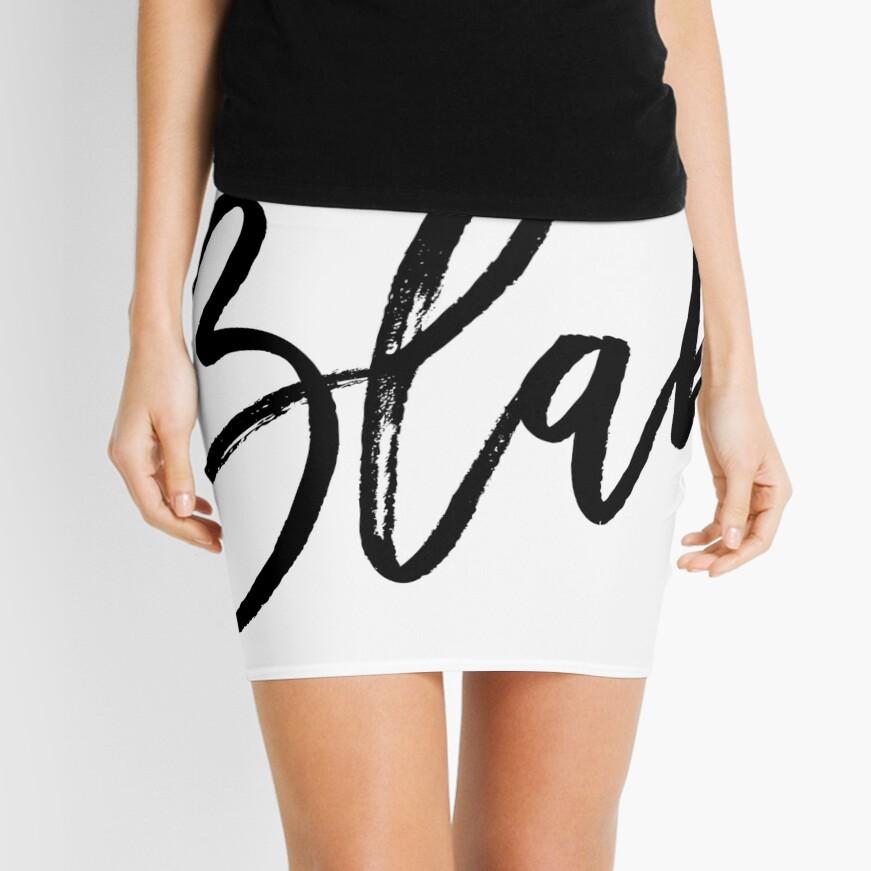 Blah hand brush lettering in black Mini Skirt