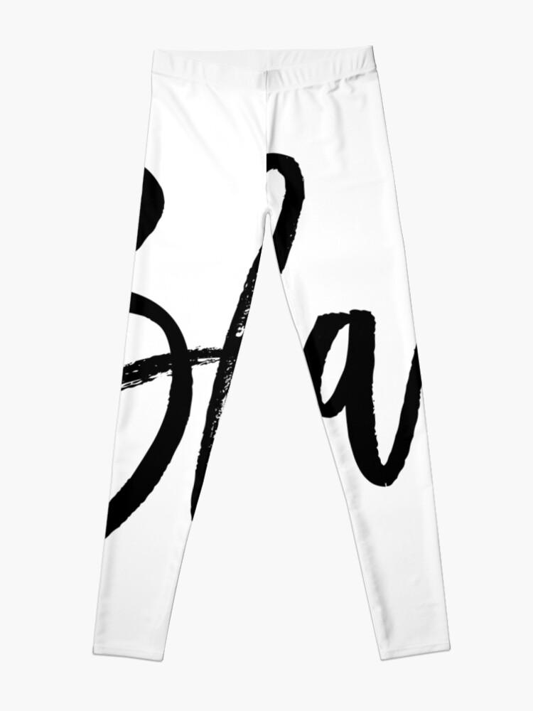 Alternate view of Blah hand brush lettering in black Leggings