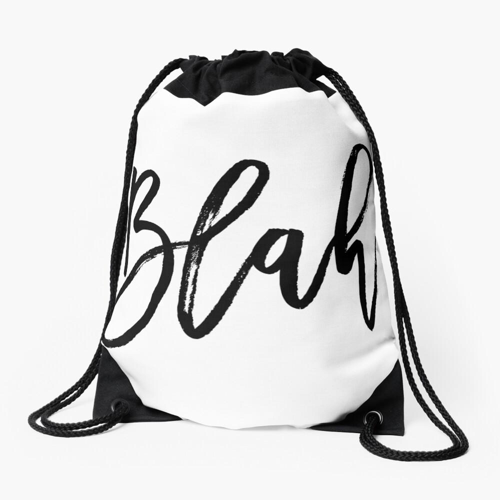 Blah hand brush lettering in black Drawstring Bag