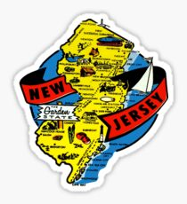 New Jersey State Map Vintage Travel Decal Sticker
