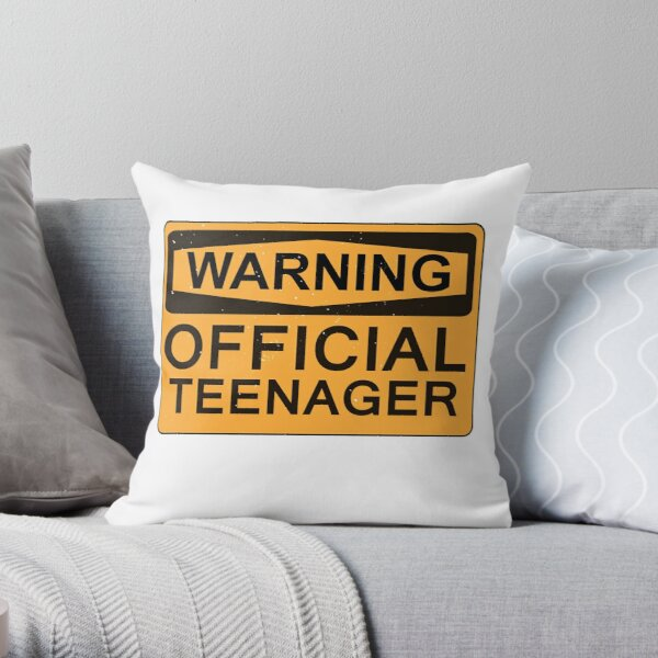 13th Birthday Gifts - Warning Official Teenager Throw Pillow