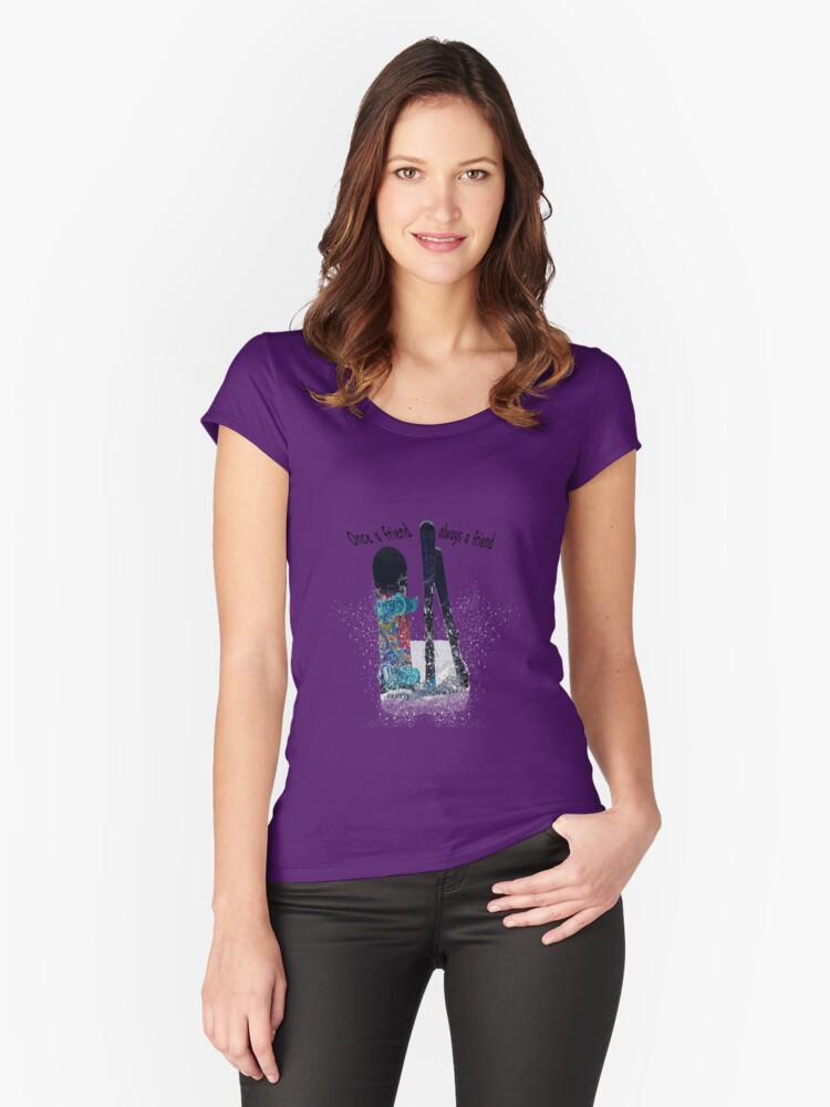 Ski and boarder friends BRT Women's Fitted Scoop T-Shirt Front