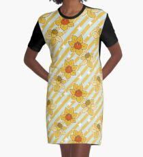 Daffodils Striped Pattern Graphic T-Shirt Dress