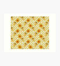 Daffodils Striped Pattern Art Print