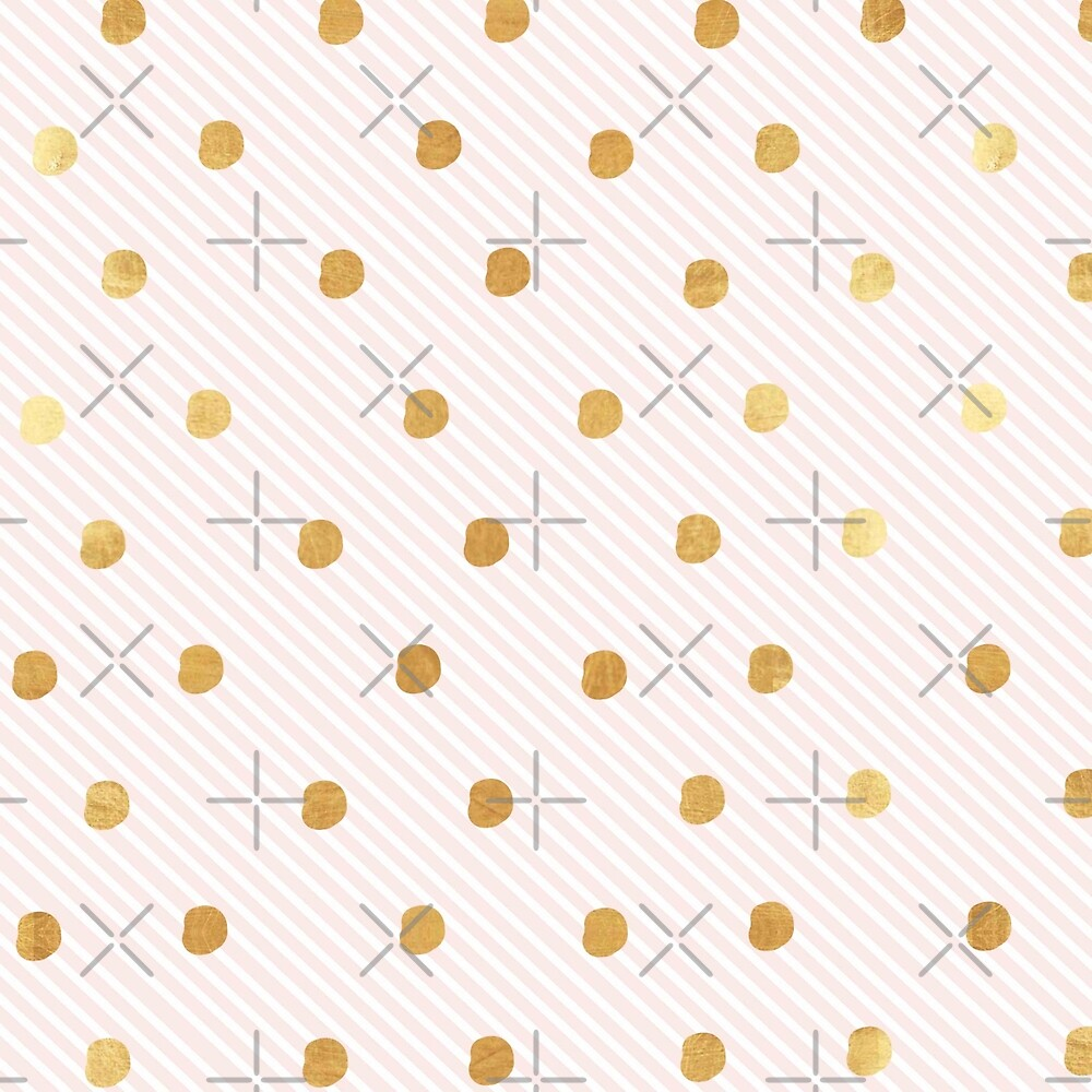 Random,gold dots, polka dots, candy stripes, modern,trendy,contemporary art by love999