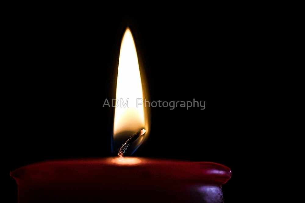 Red Candle and Flame by Amber D Hathaway Photography