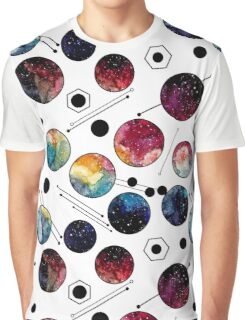 Watercolor Colorful Galaxy in Circles Graphic T-Shirt
