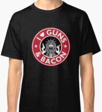 I Love GUNS AND BACON Shirt Funny Gun T-Shirt Classic T-Shirt