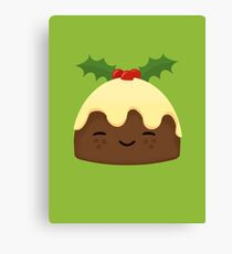 Cute Christmas Pudding Canvas Print