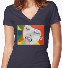 Pop art Women's Fitted V-Neck T-Shirt