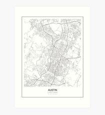 Austin Minimalist Map Art Print