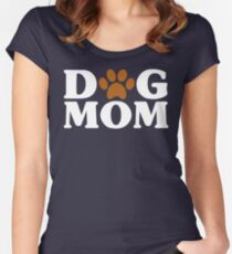 Dog Mom - Proud Puppy Mama Paw Print Women's Fitted Scoop T-Shirt