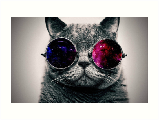 Quot Space Glasses Cat Quot Art Prints By Puff Puff Pass Redbubble