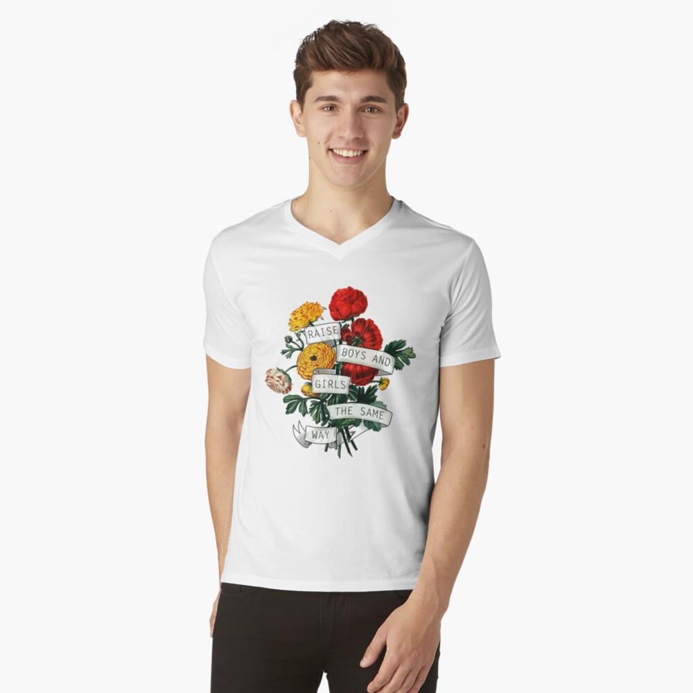 Raise Boys und Girls auf die gleiche Weise T-Shirt mit V-Ausschnitt