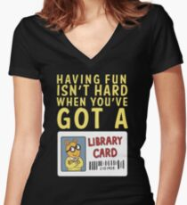 Arthur Library Card Fitted V-Neck T-Shirt