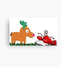 Moose Meets Crab Canvas Print