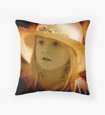 A little girl at the Markets Throw Pillow