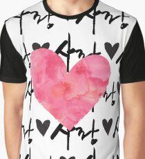 Sarang Love Heart Pink - Korean Graphic T-Shirt