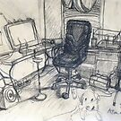 Steinberg my Dog in my Studio by Rich McLean