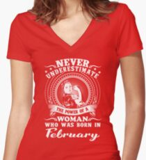 The power of a woman who was born in February T-shirt Women's Fitted V-Neck T-Shirt