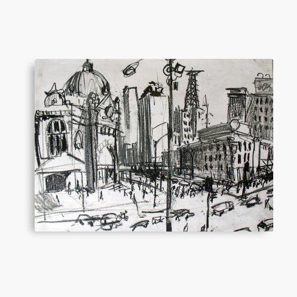 Rapid Sketch of Flinders Street, Melbourne Canvas Print