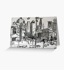Rapid Sketch of Flinders Street, Melbourne Greeting Card