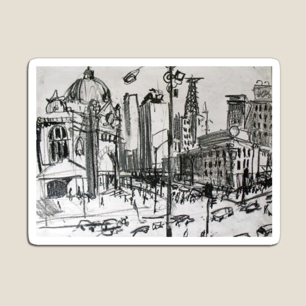 Rapid Sketch of Flinders Street, Melbourne Magnet