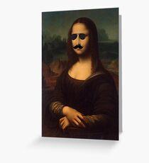 Mona Lisa Sunglasses and Moustache Design Greeting Card