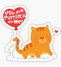 Perfect To Me Purrfect Kitty Cat Love Pun Sticker