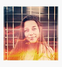 Young Woman with Double Exposure Effect. Photographic Print