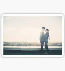Double Exposure Portrait of Loving Couple Sticker