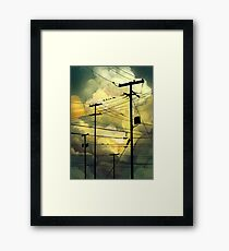green sky telephone wires Framed Print