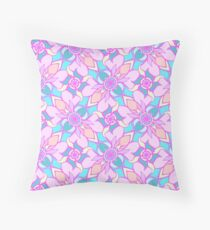 Rose Quartz and Serenity hand drawn floral pattern Throw Pillow