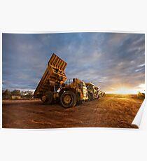 Komatsu trucks- Sunset At Salt Creek  Poster
