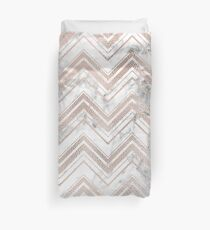 Rose gold and marble zig zag Duvet Cover