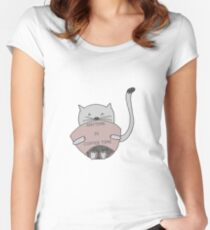 Cute sweet cat drinking coffee  Women's Fitted Scoop T-Shirt