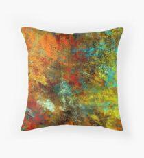 Cojín Diseño abstracto audaz, cobre, oro, aguamarina, rojo