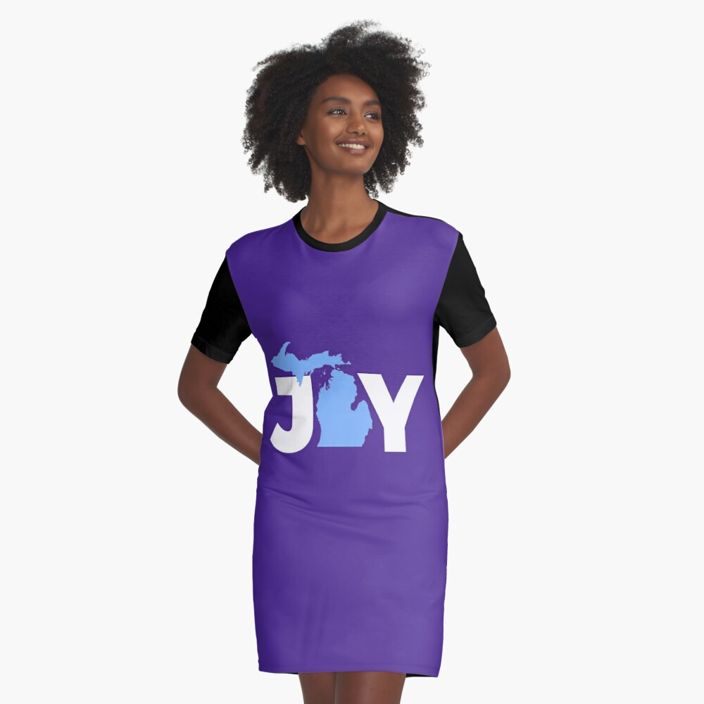 Joy Michigan Christmas State Pride Graphic  Graphic T-Shirt Dress Front