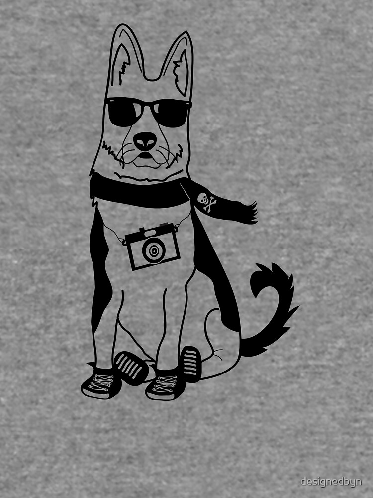 Hipster German Shepherd Alsatian Cute Dog Cartoon Character